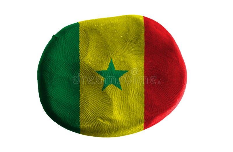 Senegal-Flagge, Flaggenlehm auf weißem Hintergrund lizenzfreies stockbild
