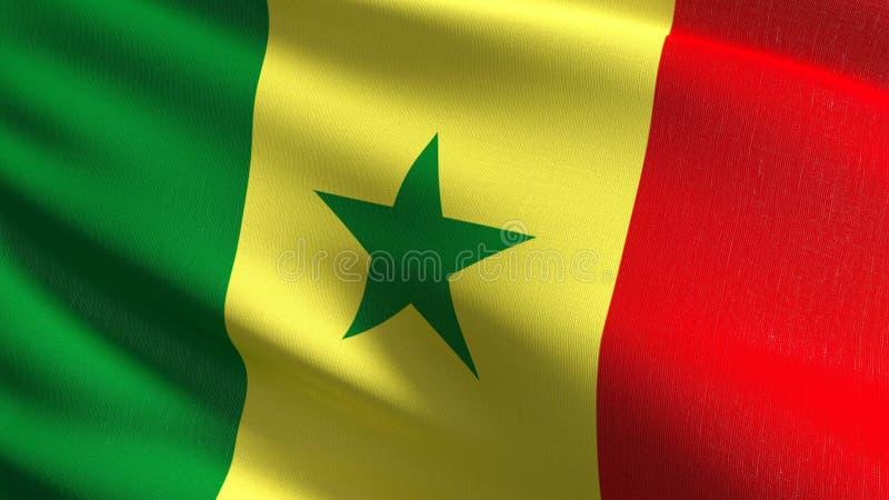 Senegal flagi państowowej dmuchanie w wiatrze odizolowywającym Oficjalny patriotyczny abstrakcjonistyczny projekt 3D renderingu i ilustracji