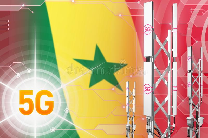 Senegal 5G industriell illustration, stor cell- nätverksmast eller torn på digital bakgrund med flaggan - illustration 3D vektor illustrationer