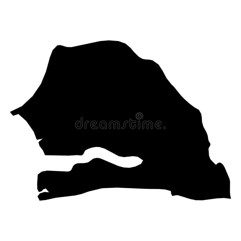 Senegal - mapa preto contínuo da silhueta da área do país Ilustração lisa simples do vetor ilustração do vetor