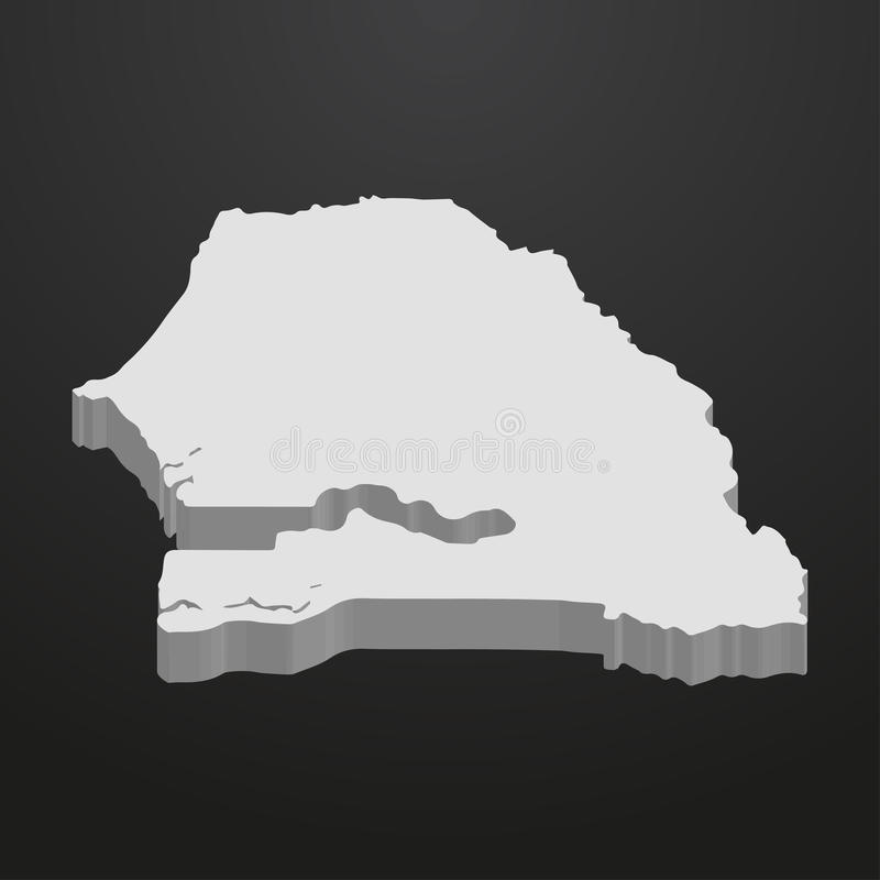 Senegal mapa w szarość na czarnym tle 3d royalty ilustracja