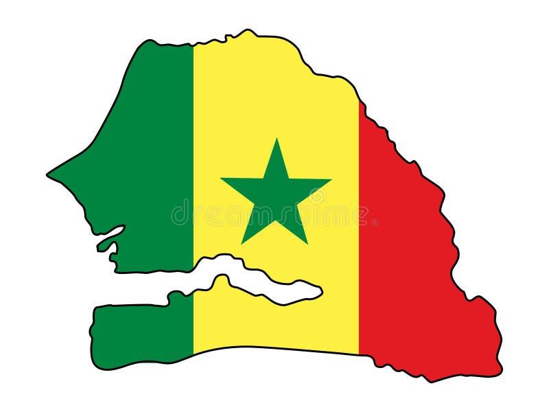 Senegal Mapa Senegal wektoru ilustracja fotografia stock
