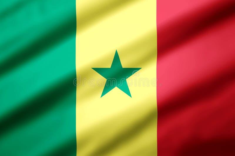 Senegal realistic flag illustration. stock illustration