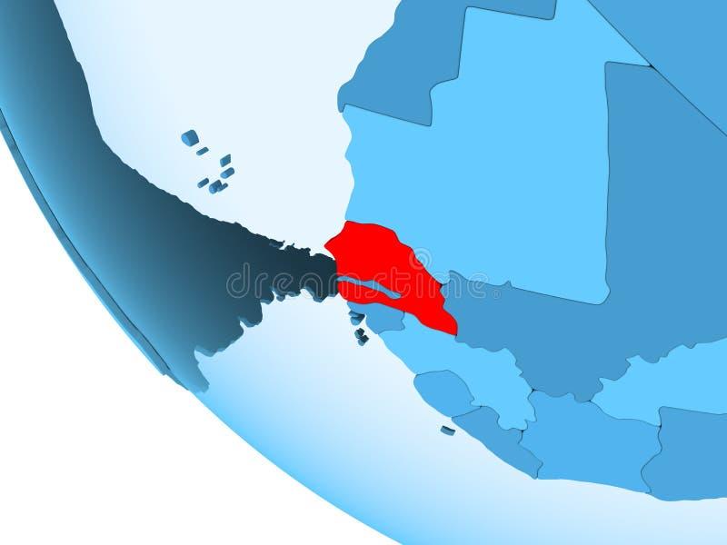 Senegal na błękitnej politycznej kuli ziemskiej ilustracja wektor