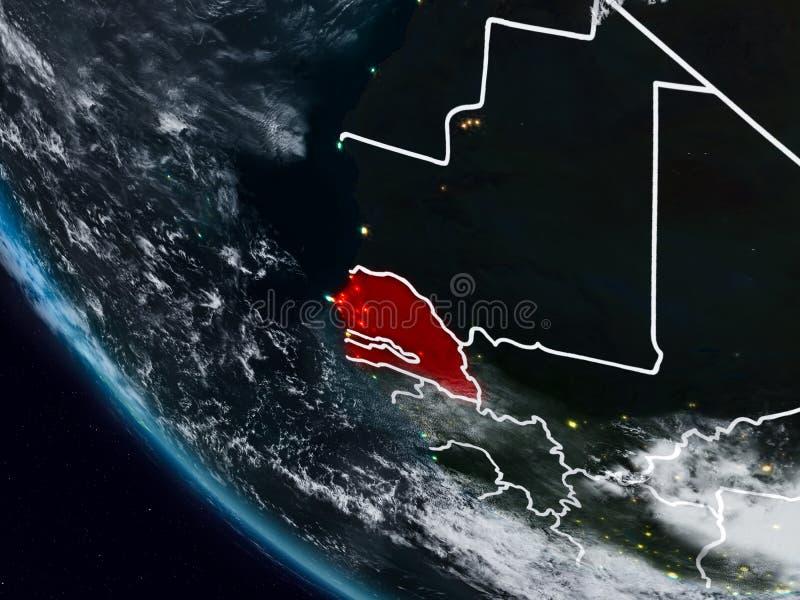 Senegal na noite do espaço ilustração do vetor
