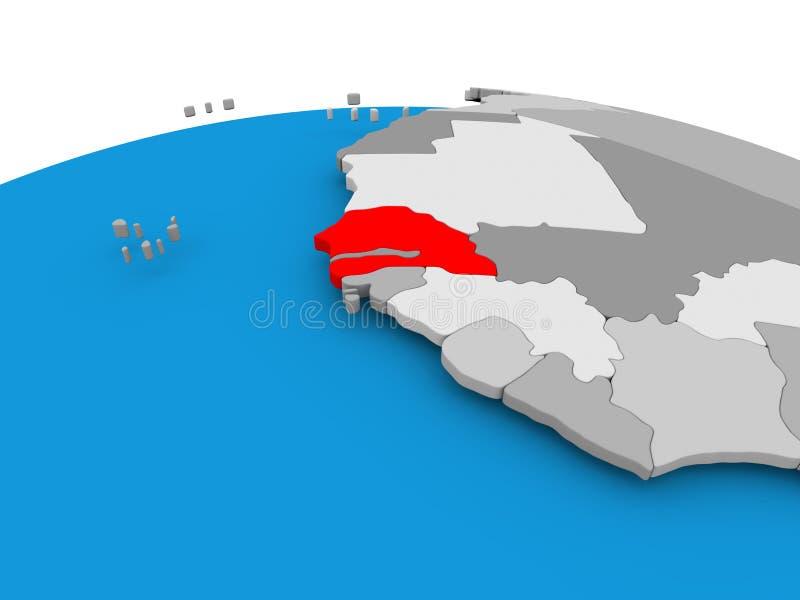 Senegal na politycznej kuli ziemskiej ilustracja wektor