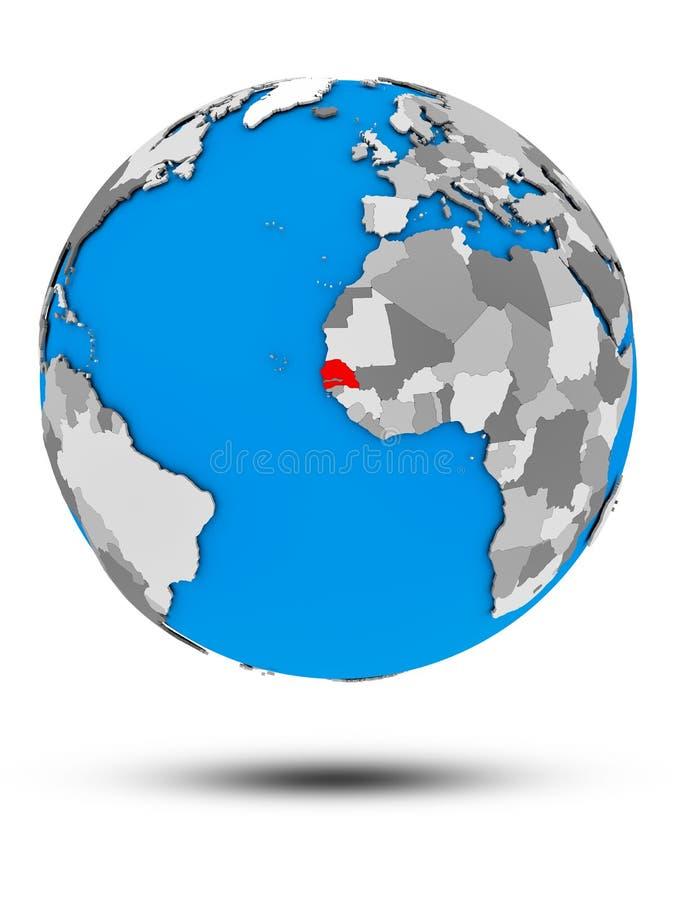 Senegal na politycznej kuli ziemskiej odizolowywającej ilustracja wektor