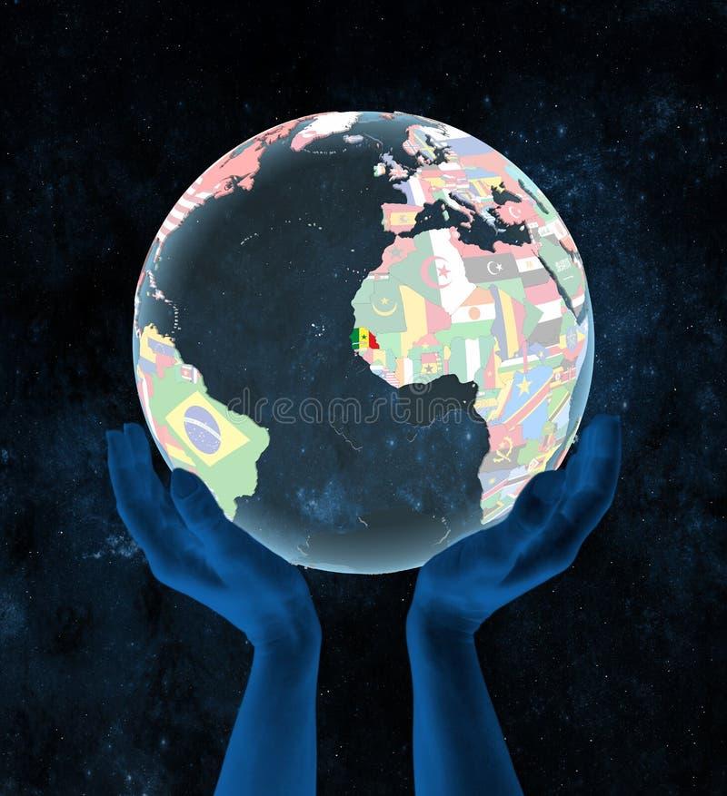 Senegal na politycznej kuli ziemskiej w rękach ilustracja wektor