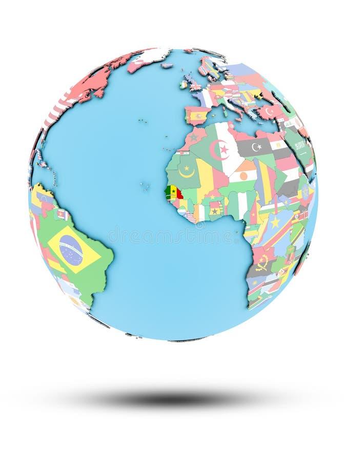 Senegal na politycznej kuli ziemskiej z flaga ilustracja wektor