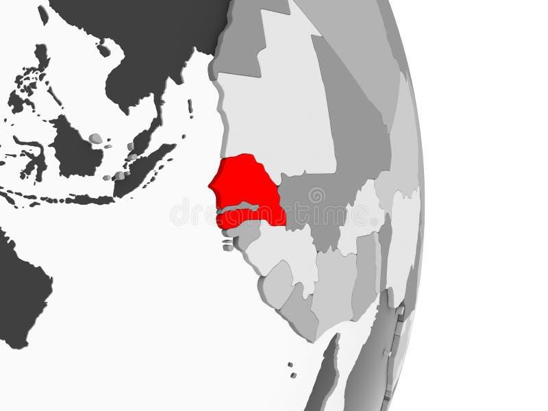 Senegal na popielatej politycznej kuli ziemskiej ilustracji