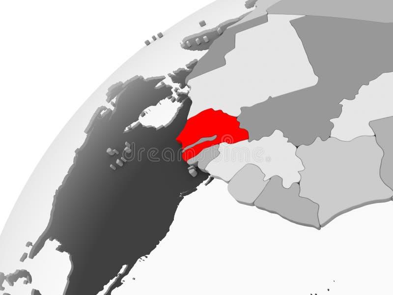 Senegal na popielatej politycznej kuli ziemskiej royalty ilustracja