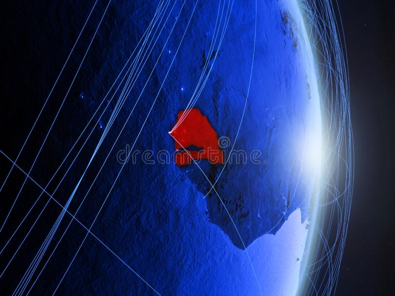 Senegal na terra digital azul azul ilustração royalty free