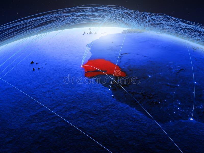 Senegal na terra digital azul do planeta com a rede internacional que representa uma comunicação, o curso e as conexões 3d ilustração do vetor