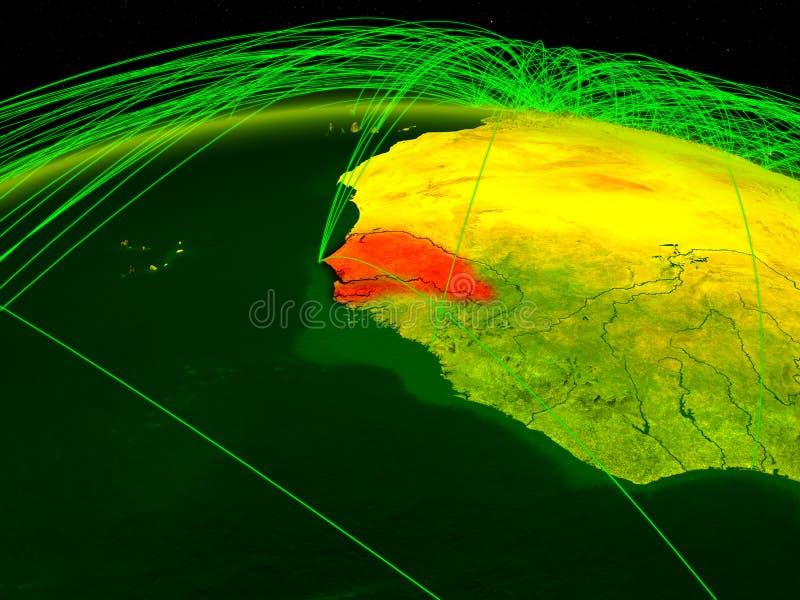 Senegal na terra digital do planeta com a rede internacional que representa uma comunicação, o curso e as conexões ilustração 3D ilustração stock