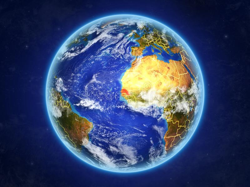 Senegal na terra do espaço ilustração royalty free