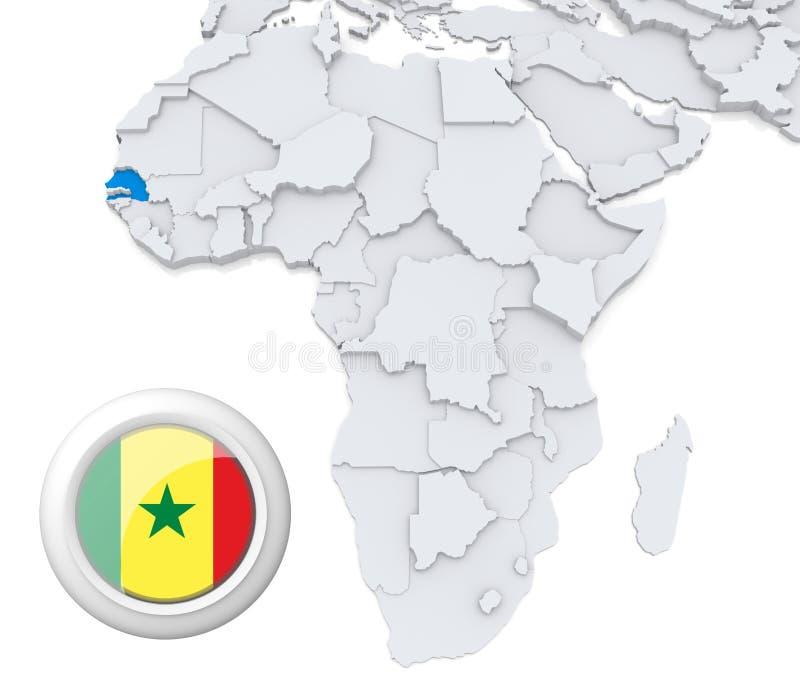 Senegal no mapa de África ilustração do vetor