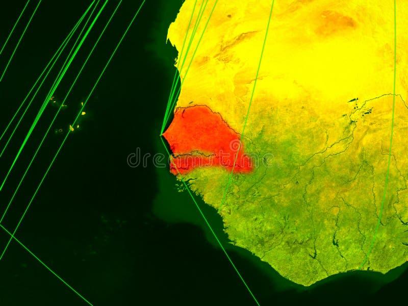 Senegal no mapa digital ilustração do vetor