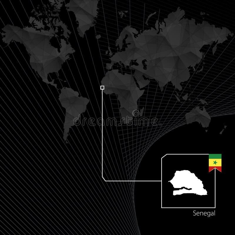 Senegal no mapa do mundo preto Mapa e bandeira de Senegal ilustração royalty free