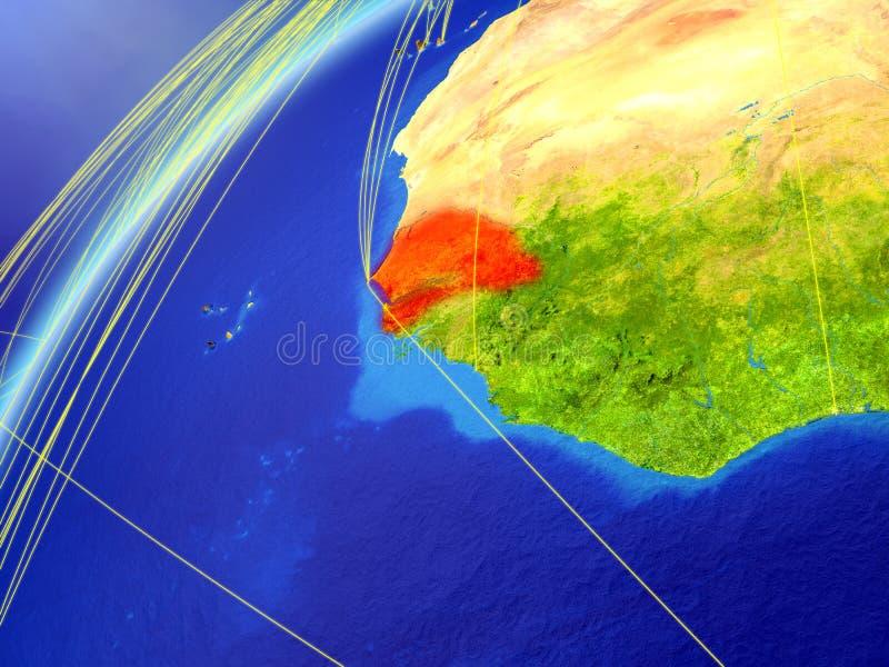 Senegal no modelo da terra do planeta com redes internacionais Conceito de uma comunicação digital e da tecnologia ilustração 3D ilustração stock