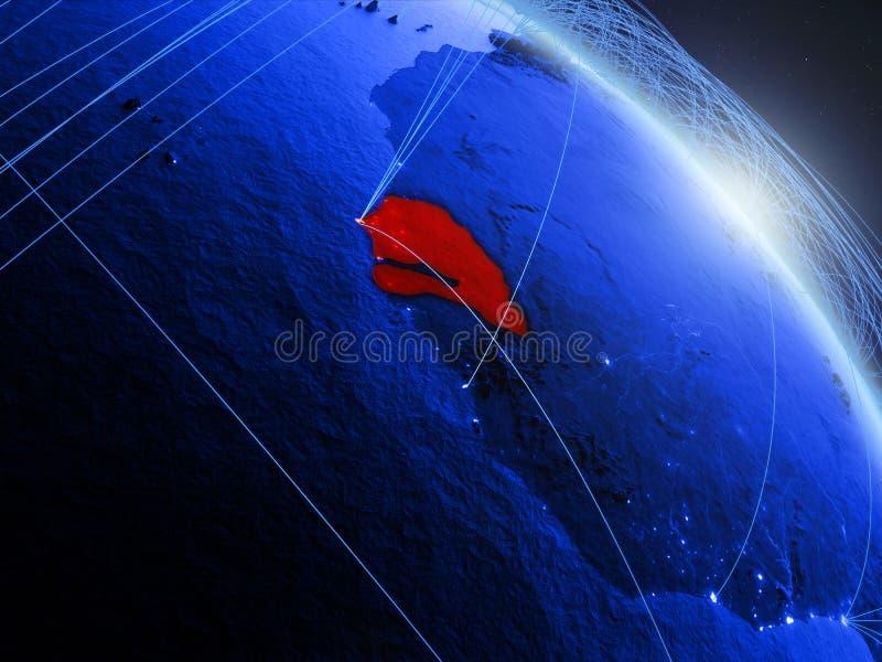 Senegal på det blåa blåa digitala jordklotet vektor illustrationer