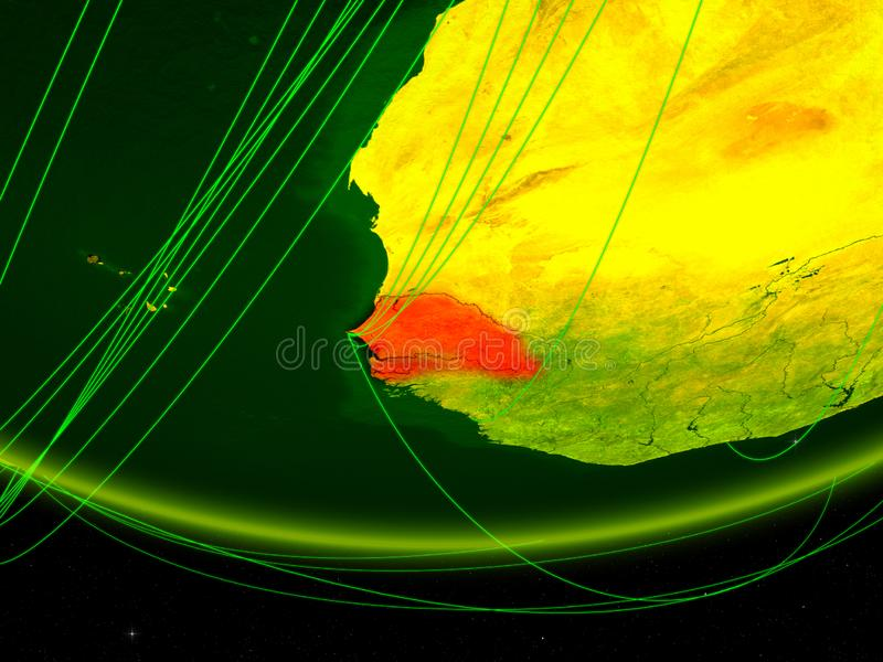 Senegal på grön modell av planetjord med nätverket som föreställer digital ålder, lopp och kommunikation illustration 3d element vektor illustrationer