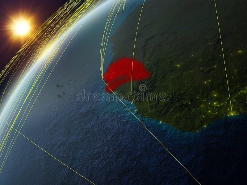 Senegal på jord med nätverket royaltyfri illustrationer