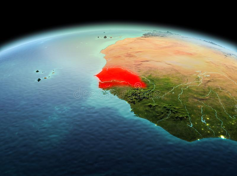 Senegal on planet Earth in space. Morning above Senegal highlighted in red on model of planet Earth in space. 3D illustration. Elements of this image furnished stock image
