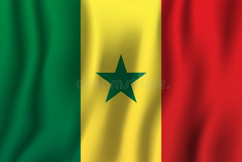 Senegal realistic waving flag vector illustration. National country background symbol. Independence day royalty free illustration