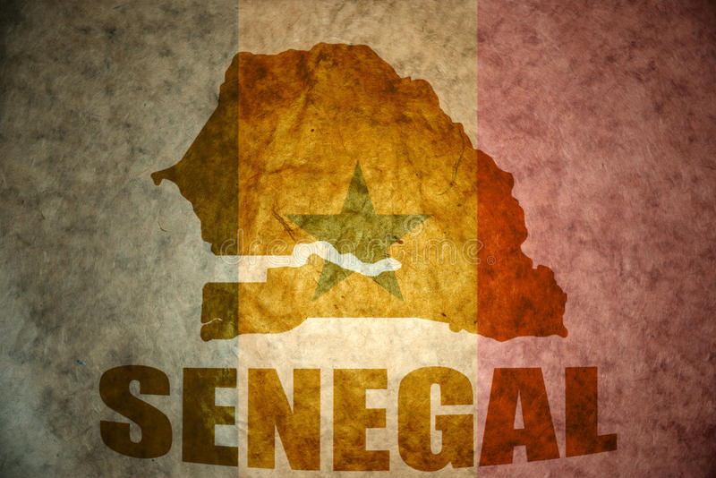 Senegal rocznika mapa zdjęcia stock