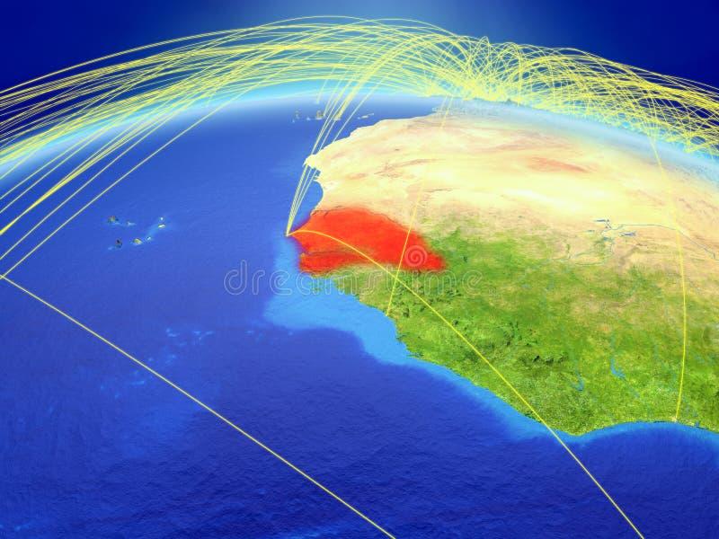 Senegal ter wereld met netwerk royalty-vrije stock foto