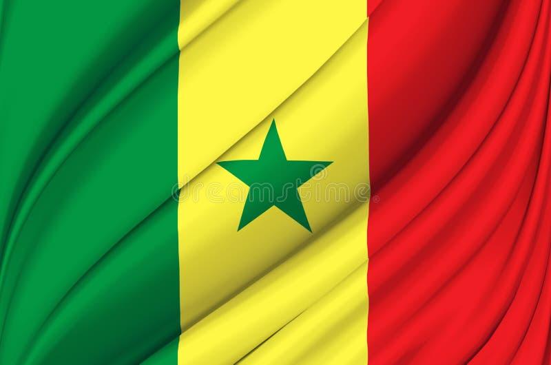 Senegal waving flag illustration. stock illustration