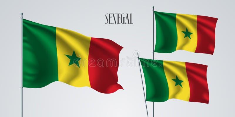 Senegal waving flag set of vector illustration royalty free illustration