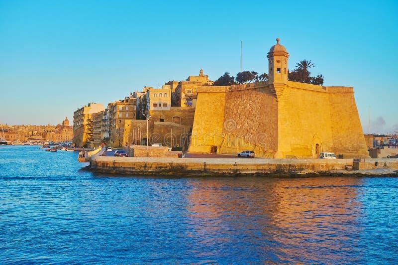 Senglea från havet, Malta arkivbild