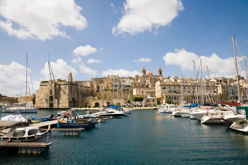 Senglea Jachthafen, Malta stockbilder