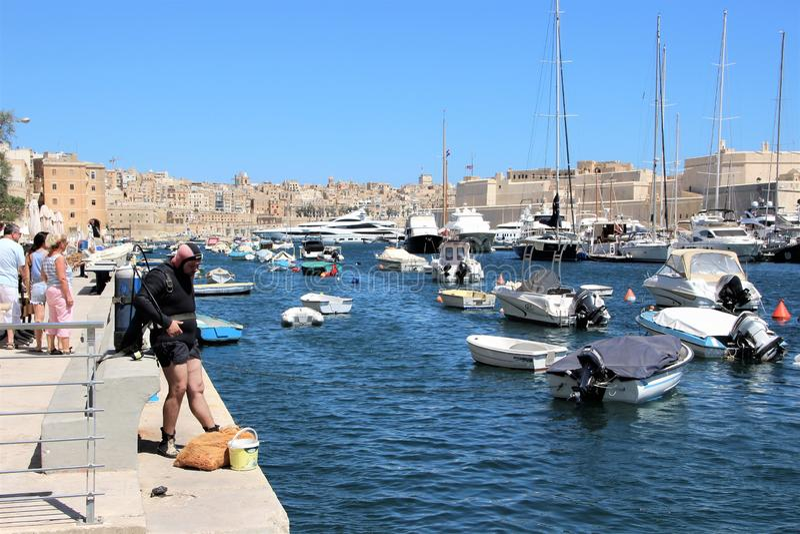 Senglea Malta, Juli 2016 Dykaren förbereder sig att dyka på stranden fotografering för bildbyråer