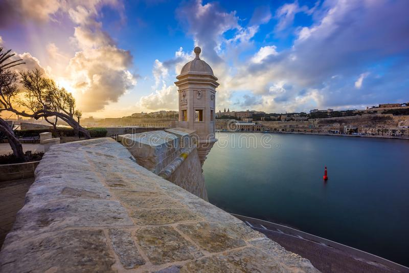 Senglea, Malta - Senglea, Malta - Watch tower at Fort Saint Michael, Gardjola Gardens at tower at Fort Saint Michael. Senglea, Malta - Watch tower at Fort Saint royalty free stock photo