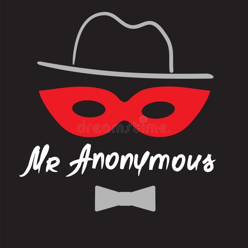 Senhor Anonymous - desenho de um desconhecido em uma máscara Cópia para o cartaz ilustração do vetor