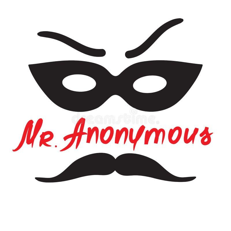 Senhor Anonymous - desenho de um desconhecido em uma máscara Cópia para o cartaz, copos, t-shirt, ilustração do vetor