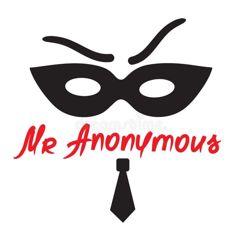 Senhor Anonymous - desenho de um desconhecido em uma máscara Imprima para o cartaz, copos, t-shirt, saco ilustração royalty free