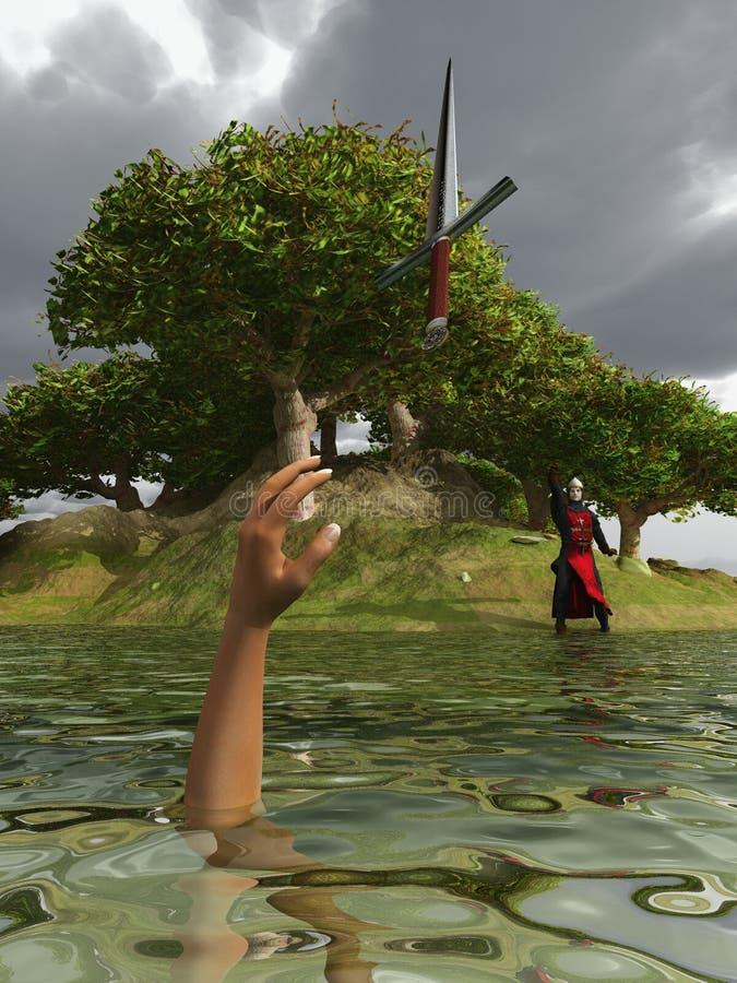 Senhor Bedivere na costa do lago ilustração royalty free