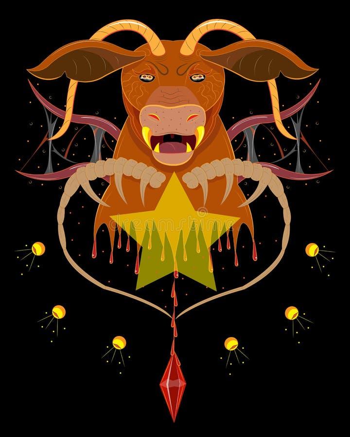 Senhor do demônio de Bull do inferno ilustração do vetor