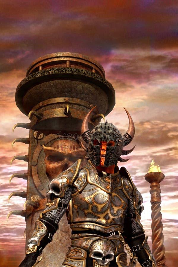 Senhor mau do caos do cavaleiro da fantasia ilustração stock