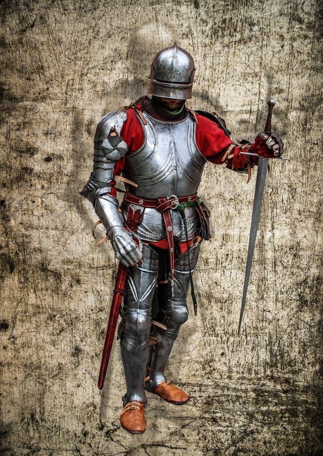 Senhor medieval do cavaleiro com o cartaz da sombra do fantasma ilustração stock