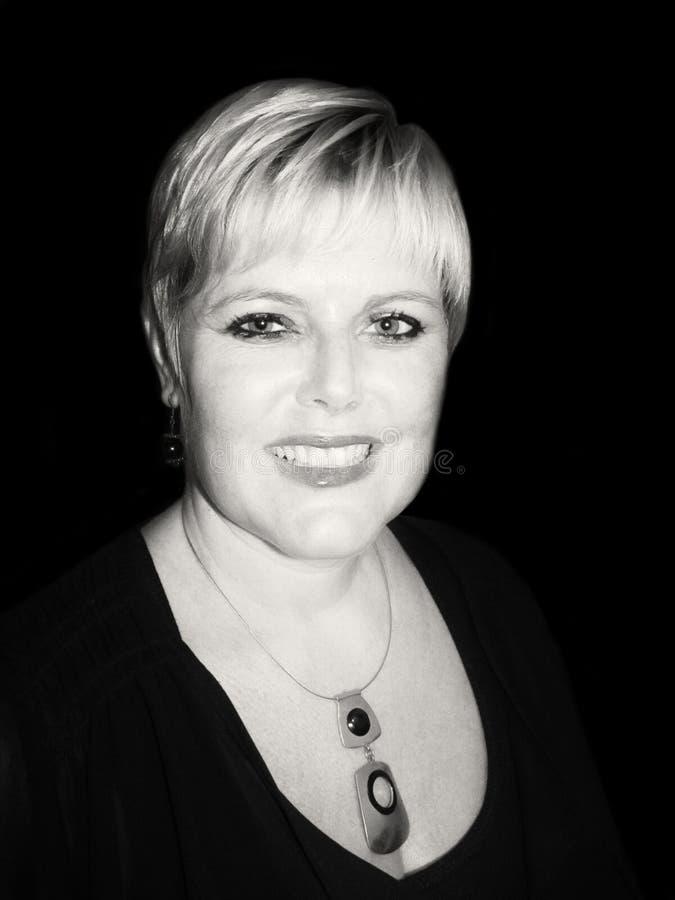 Senhora à moda preto e branco foto de stock