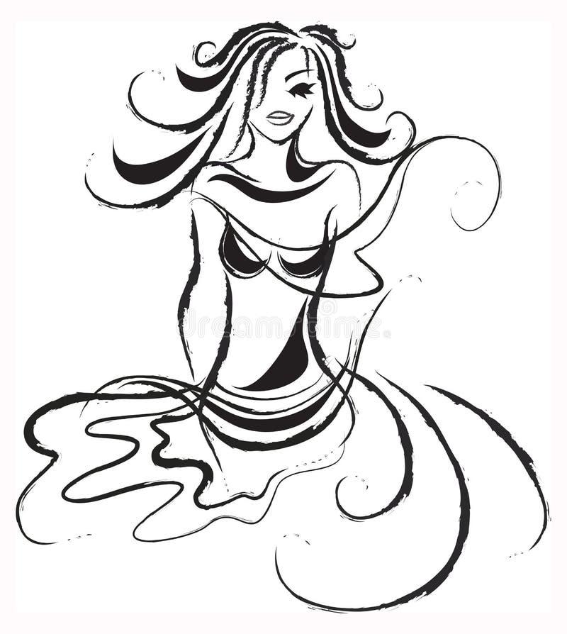 Senhora abstrata Vento ilustração royalty free
