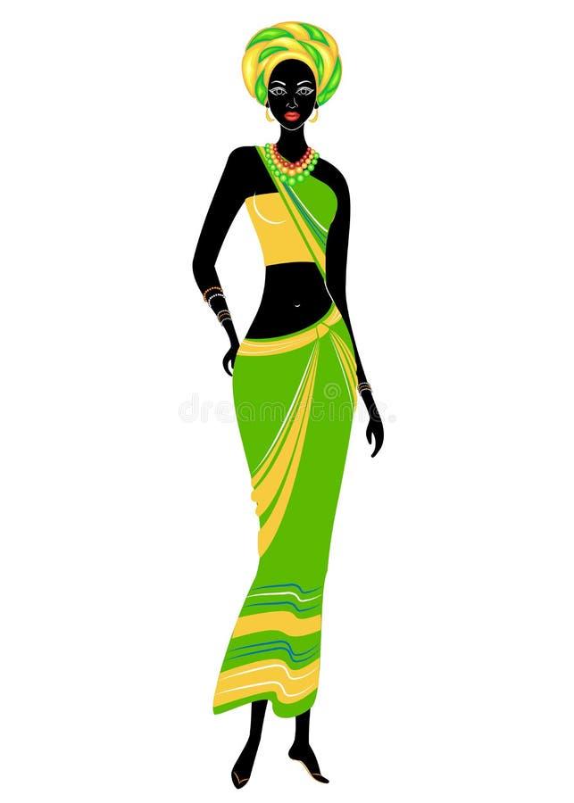 Senhora afro-americano bonita delgada A menina tem a roupa brilhante, um turbante em sua cabeça A mulher é delgada e bonita ilustração stock