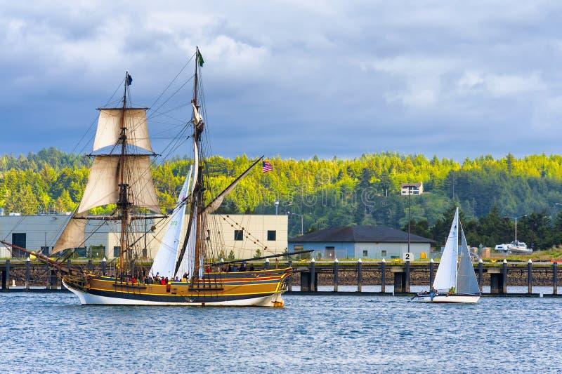 Senhora alta Washington do navio em Newport, Oregon imagem de stock