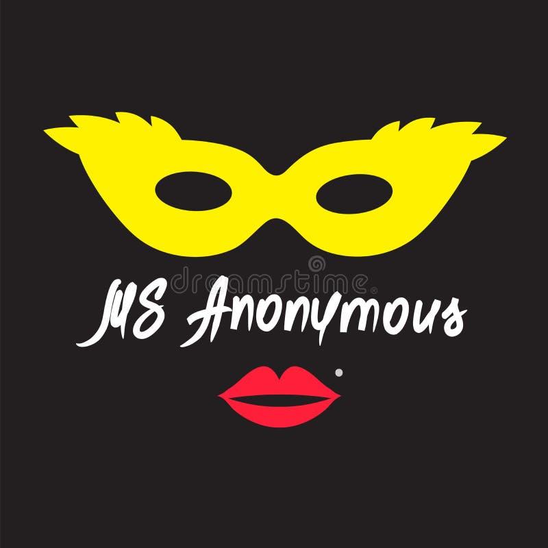 Senhora Anonymous - desenho de uma mulher desconhecida Cópia para o cartaz, copos, t-shirt ilustração stock