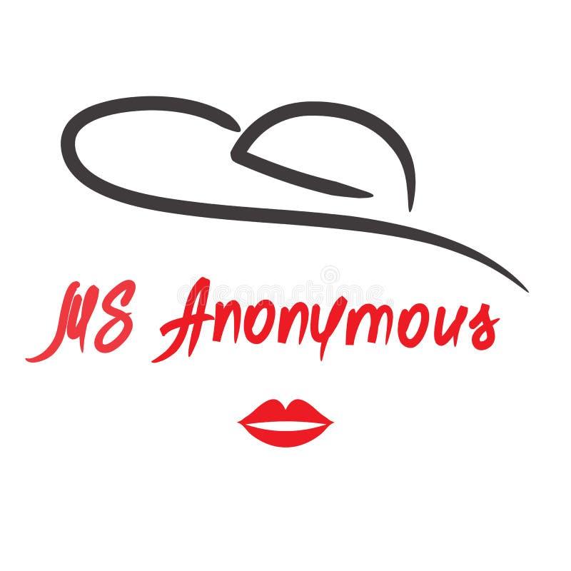 Senhora Anonymous - desenho de uma mulher desconhecida Imprima para o cartaz, copos, t-shirt, saco ilustração stock