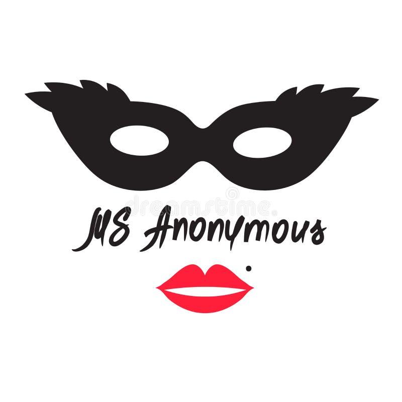 Senhora Anonymous - desenho de uma mulher desconhecida Imprima para o cartaz, copos, t-shirt, saco, logotipo, cumprimentando o ca ilustração do vetor